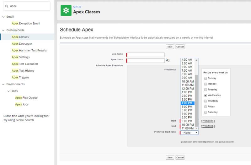 Schedule Apex Salesforce
