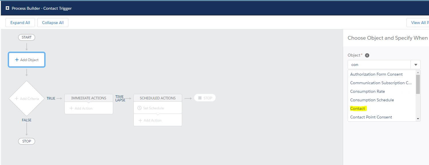 New Process Builder Select Contact Salesforce
