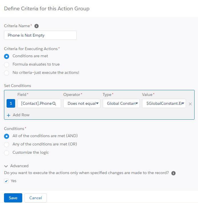 Process Builder Criteria Salesforce