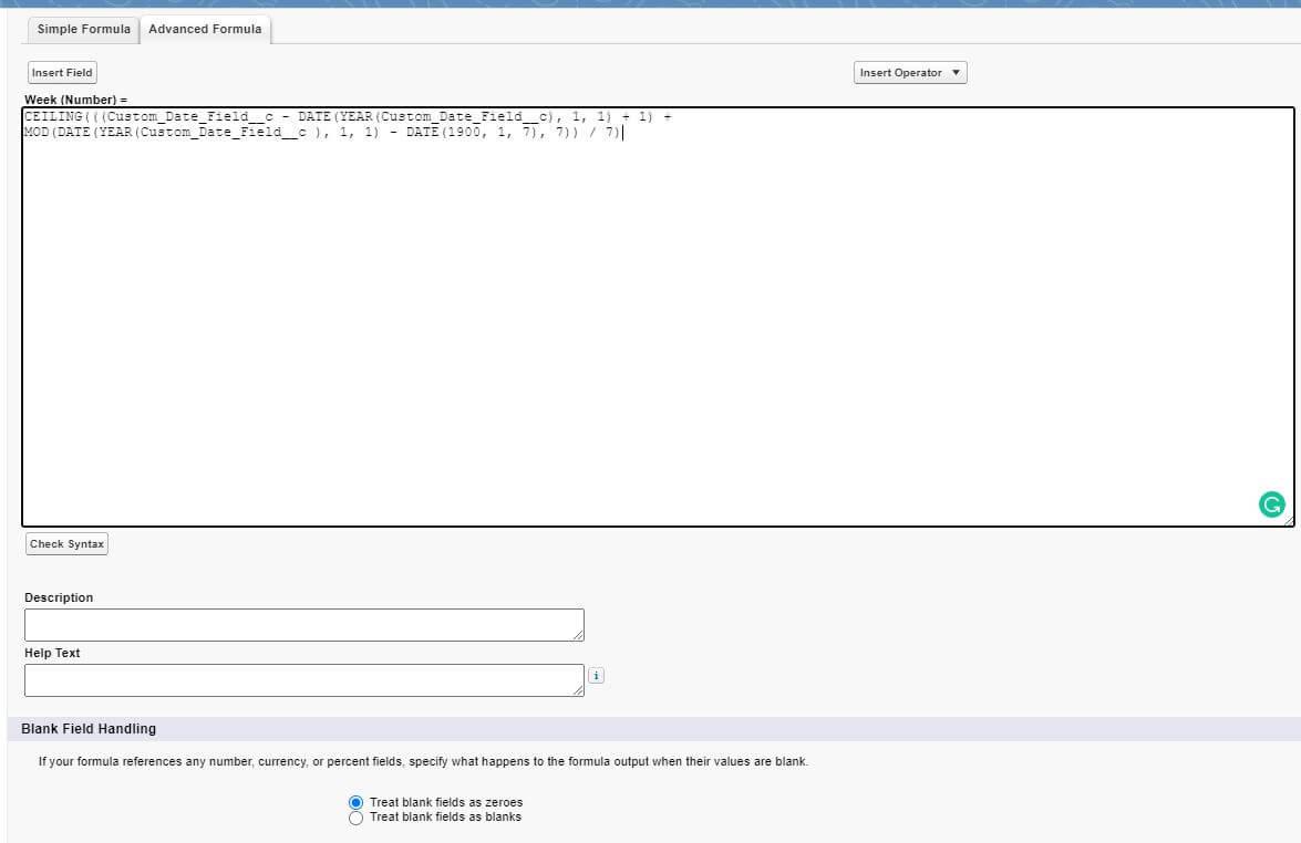 Salesforce week number formula date field
